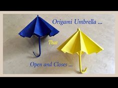 Origami Umbrella That Open And Closes / DIY / Origami Umbrella 🌂 Origami Ball, Diy Origami, Origami Swan, How To Make Origami, Useful Origami, Origami Paper, Origami Folding, Origami Instructions, Origami Tutorial