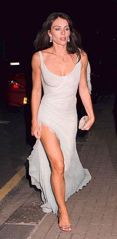 50 Shades of Grey (dresses) Liz Hurley in a grey dress