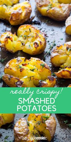 Smashed Potatoes that are REALLY crispy, everyone goes wild for these, its such . - Smashed Potatoes that are REALLY crispy, everyone goes wild for these, its such a popular recipe! Potato Side Dishes, Veggie Dishes, Vegetable Recipes, Food Dishes, Vegetarian Recipes, Cooking Recipes, Healthy Recipes, Italian Recipes, Crockpot Recipes