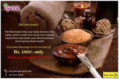 Book Chocolate Massage at Rs. 1800/- only for 60 minutes at #AlcorSpa and release all your stress with the rejuvenating therapy.  #BookNow #ChocolateMassage #Cocoa