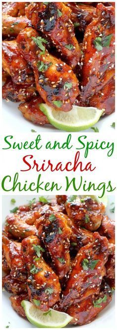 Sweet and Spicy Sriracha Baked Chicken Wings - Baker by Natu. Sweet and Spicy Sriracha Baked Chicken Wings – Baked, not fried, these chicken wings can be ready in just one hour! Baked Chicken Wings, Chicken Wing Recipes, Recipe Chicken, Roast Chicken, Roast Beef, Sauce For Chicken Wings, Grilled Chicken Breast Recipes, Chicken Wing Sauces, Chicken Breasts