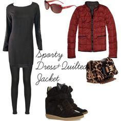 black-dress-tshirt-black-tights-sun-tan-bag-leopard-print-black-shoe-sneakers-red-jacket-coat-puffer-fall-winter-lunch.jpg