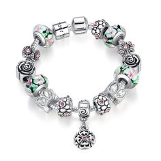 BAMOER Authentic Silver Strand Bracelet with Colorful Glass Beads Flower Bracelet for Women Bracelet Jewelry Strand Bracelet, Bangle Bracelets, Bangles, Silver Flowers, Beaded Flowers, Murano Glass Beads, Flower Bracelet, Gift For Lover, 925 Silver