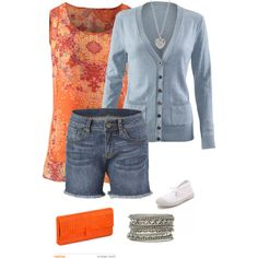 CAbi Spring 2015 Lazy Sunday in our Merrow Tank, Billi Cardigan and our cozy comfy boyfriend jean! LOVE all the orange shades this Spring! Pretty Outfits, Cool Outfits, Fashion Outfits, Style Me, Cool Style, Spring 2015 Fashion, Ripped Denim, I Love Fashion, Capsule Wardrobe
