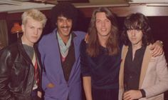 Billy Idol with Phil, and Scott Gorham of Thin Lizzy Official taken in 1977.