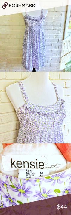 Kensie white sundress with purple flowers Make an offer! No trades. Bundle and save - I'm a fast shipper! Kensie Dresses Midi