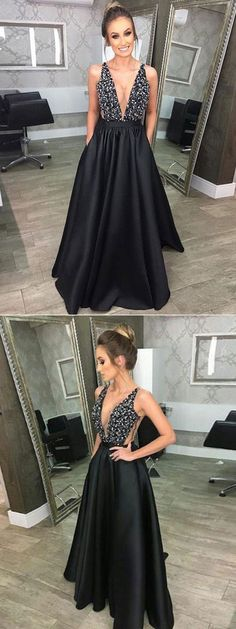 Sexy Black V-Neck Rhinestones Beaded Prom Dress,Black Evening Dress,2018 Prom Dress with Pockets