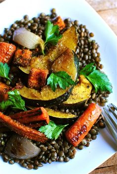 Indian-Spiced Roasted Vegetables Over Lentils...all of my favorite things in one big pile of goodness