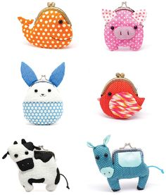 "Take a look at the ""little zoo"" collection of kiss lock coin purses from Michelle Chan at her Etsy shop, Misala. love the ""kawaii"" bunny!"