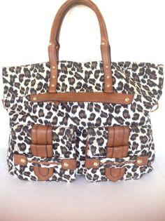 Steven Madden Leopard Bag Purse Extra Large Designer Fashion Hip Chic Boho  #StevenbySteveMadden #ExtraLargeToteBag