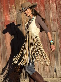 Wild West Extra Long Vest in Smoke - #CowgirlChic