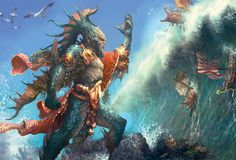 Wavecrash Triton, Magic the Gathering Concept Art by Ryan Barger