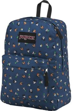 JanSport x Disney Superbreak Disney Gang Dot backpack. Features an allover Disney character print. Jansport Backpack, Travel Backpack, Mochila Jansport, Disney Handbags, Disney Purse, Backpacking Hammock, Kids Backpacks, Minnie, Fashion Shoes