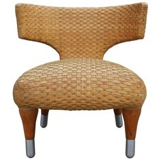 Klismos side chair in woven leather