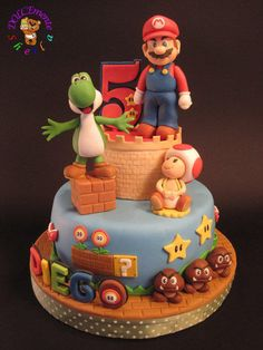 Super Mario - Cake by Sheila Laura Gallo Pasteles Cake Boss, Bolos Cake Boss, Mario Bros Kuchen, Mario Bros Cake, Bolo Do Mario, Bolo Super Mario, Mario Birthday Cake, Super Mario Birthday, Video Game Cakes