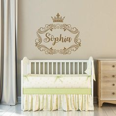 Girls Name Wall Decal Princess Crown. Frame Wall Vinyl Sticker Nursery Personalized Name. Nursery Wall Decor. Baby Girl Name Wall Decal THIS PERFECT VINYL WALL DECAL IS A STUNNING ADDITION TO YOUR LITTLE ONES NURSERY ROOM √Please provide the Name you want in the message or in the