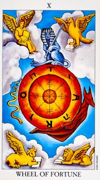 RWS Tarot Deck - Wheel of Fortune - Cycles, change, ups and downs of life, good luck.    The Wheel of Fortune reminds you that life is constantly in flux. The world turns around and around and similarly, we too go through phases and cycles so that there are times of plenty and joy and times of scarcity and sadness.