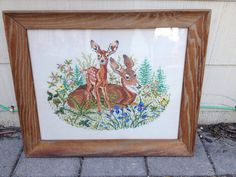 Doe & Fawn Crossstitch in Rustic Frame 32x26 by asburyparkvintage, $200.00