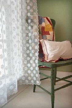 Brand New! @PolkaDot Lace Curtains. So Cute for #Spring. www.decoratingwithlaceoutlet.com