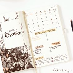 PRINTABLE Wild Flowers Monthly Log / Bullet Journal Insert / Monthly Spread / Goals & Tasks List / Social Stats