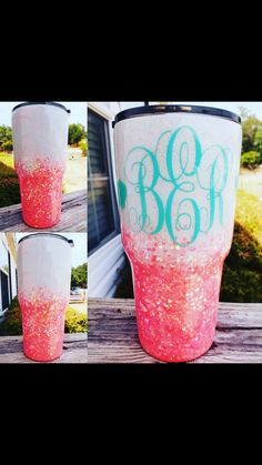 Would like it with a cute saying or phrase instead of the monogram :) Vinyl Tumblers, Custom Tumblers, Monogram Tumblers, Monogram Cups, Glitter Cups, Glitter Tumblers, Glitter Girl, Tumblr Cup, Cup Crafts