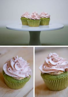 Green tea and strawberry cupcakes