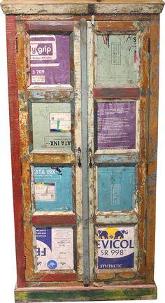 Wohnmöbelprogramm »Montreal« mit einem Korpus aus FSC®-zertifizierter Akazie bzw. Mango. Die Farbfronten werden aus recyceltem Blech gefertigt. Jedes Möbel ist ein Unikat, was die interessante Optik verstärkt. Mit Metallgriffen.  In folgenden Farben erhältlich:  Korpus/Front: braun/farbig, Fronten in recyceltem Blech,   Details:  2 Türen, 4 Fächer, 3 feste Böden, FSC®-zertifiziertes Massivholz,...