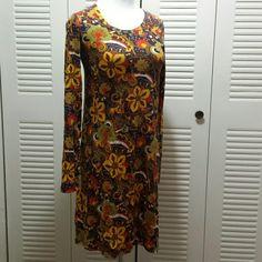 J.Crew dress Long  sleeve  unlined floral  paisley  multi color.  Light wear J. Crew Dresses Long Sleeve