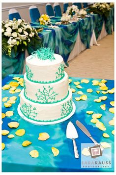 Ocean themed wedding with yellow, teal and accents of blue. Ocean themed wedding cake.