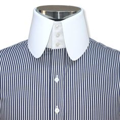 High Rounded Collar Shirt with high Collar and 3 buttons. Rounded collar for Peaky Blinders fan. Egyptian cotton - made on order. Blue Gingham, Gingham Check, Blue Stripes, Navy Blue, Mens High Collar Shirts, Plain White Shirt, Cotton Shirts For Men, Slim Fit Trousers, Collar Styles