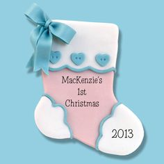 Baby's First Christmas Handmade Personalized Baby Stocking Ornament  - HANDMADE Polymer Clay Ornament