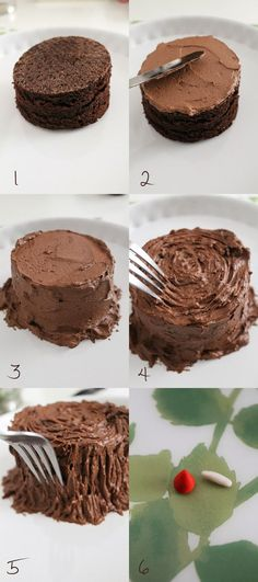 How to decorate a tree stump cake Tree Stump Cake, Cupcake Cakes, Cupcakes, Cakes Plus, Log Cake, Tree Cakes, Cake Decorating Tips, Cake Tutorial, Creative Cakes