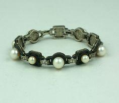Deco Patinaed Steel, Pearl and Diamond Bracelet, Marsh & Co