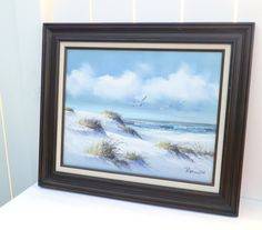 Vintage Ocean Scene Oil Painting on Canvas by RenewedFinds on Etsy, $29.99