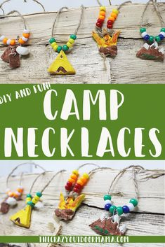 , Summer Camp Craft for Kids: Easy and Fun Camp Necklaces! – The Crazy Outdoor Mama , These assorted camping necklaces a fun summer camping craft, perfect for kids of all ages - preschool, middle school and even teens if they're artsy (. Camping Activites For Kids, Preschool Summer Camp, Summer Camp Art, Summer Camp Themes, Summer Camp Activities, Summer Camp Crafts, Fun Camp, Camping Theme Crafts, Summer Camps For Kids
