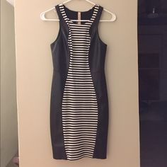 Black and white stripe leather dress Worn it once for a birthday party. Still in great condition Bailey 44 Dresses