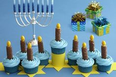 Entertaining for Hanukkah? After lighting the candles, your guests will want dessert. Serve them dinner beforehand, or just throw a latkes and dessert party! Here is a beautiful dessert table from … Feliz Hanukkah, Hanukkah Crafts, Hanukkah Food, Hanukkah Decorations, Hanukkah Menorah, Christmas Hanukkah, Happy Hanukkah, Hanukkah Celebration, Jewish Crafts