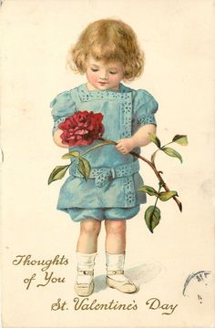 THOUGHTS OF YOU ST. VALENTINE'S DAY  boy in blue with exagerated rose