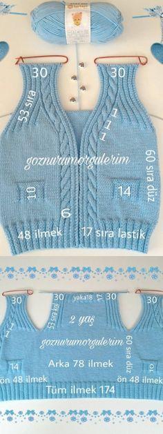 anlatimli-orgu-bebek-yelek-modelleri anlatimli-orgu-bebek-y. Baby Knitting Patterns, Baby Sweater Knitting Pattern, Baby Boy Knitting, Knitting Designs, Free Knitting, Crochet Baby, Knit Crochet, Baby Model, Knitted Baby Clothes