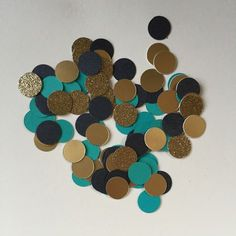 Gold and Teal Confetti Circles, with Shiny Gold, Shimmery Black and Premium Gold Glitter, Wedding Decorations, Birthday Party Decor