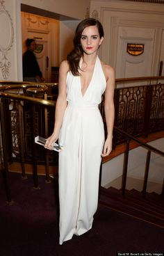 Emma Watson is so elegant in this plunging jumpsuit from Misha Nonoo.