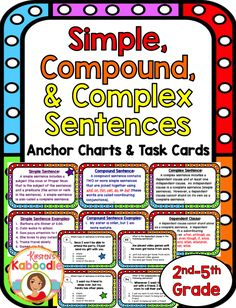 This fun and easy-to-use Simple, Compound, and Complex Sentences product is… Types Of Sentences Worksheet, Kinds Of Sentences, Grammar Sentences, Sentence Types, Grammar Games, Complex Sentence Examples, Complex Sentences, Sentence Anchor Chart, Anchor Charts