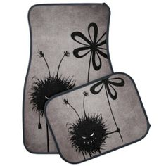 Evil Flower Bug Vintage Car Mat Set $83.95 - Customizable funny #evil bug #car mat set with the Evil Flower Bug in its vintage reincarnation -  grinning cartoon creature with sharp teeth holding a flower. It's evil and kind of cute. It loves flowers... loves eating them, in fact. This evil car mat will make a great gift for someone who loves dark, quirky illustrations, #gothic stuff. Or just funny creatures.