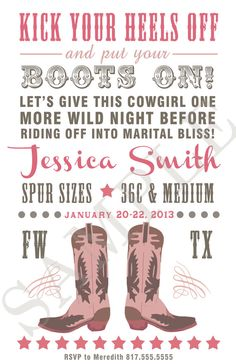 Cowgirl Bachelorette Party Invitation Digital File by LaLaBella, $9.50