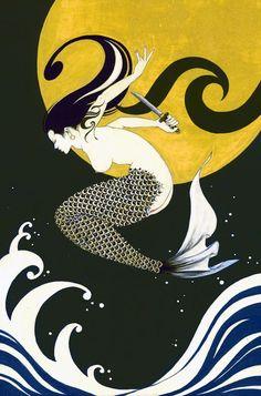 Based in Tokyo, Japan, illustrator Anna Tsubaki& bright and kinetic work takes a modern spin on the traditional art of ukiyo-e, using blocks of v. Siren Mermaid, Mermaid Art, Mermaid Paintings, Mermaid Tails, Manga Mermaid, Mermaid Illustration, Illustration Art, Illustrations, Mermaids And Mermen