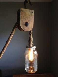 Barn Nautical Hanging Pulley Rope 1/2 Gallon Mason Jar Lamp w/ Edison Bulb - Rustic Industrial Steampunk Shabby Chic