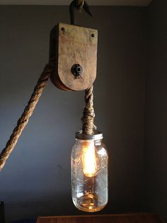 Barn Nautical Hanging Pulley Rope 1/2 Gallon Mason Jar Lamp w/ Edison Bulb - Rustic Industrial Steampunk Shabby Chic