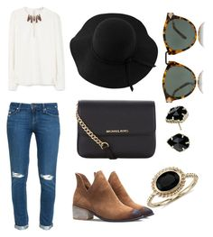 """Untitled #13"" by hannahehuff on Polyvore featuring Paige Denim, MANGO, MICHAEL Michael Kors, Blue Nile, Sans Souci, Karen Walker, Kendra Scott, women's clothing, women and female"