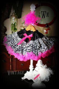 Ultra Premium Fluffy Zebra Stripe Pettiskirt Hot Pink Black White  4T 5T 6 7 8. $29.99, via Etsy.