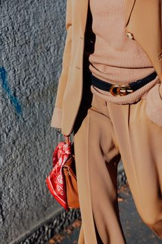 Vogue.com Street Style from Milan Men's Fashion Week (all camel, Gucci belt, bandana)